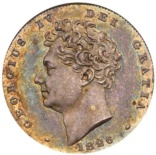 George IV (1820-30), silver Proof Sixpence, 1826 George IV (1820-30), silver Proof Sixpence, 1826. Second bare head left, date below, legend and toothed border surrounding, GEORGIUS IV DEI GRATIA, rev. inverted die axis, crowned lion standing left on large crown over emblems, legend commences lower left, BRITANNIARUM REX FIDEI DEFENSOR, edge milled (Bull 2433; Davies 271 dies 2+A; ESC 1662; KM 698). Darker tone, a little patchy in places, otherwise practically as struck, has been graded and…