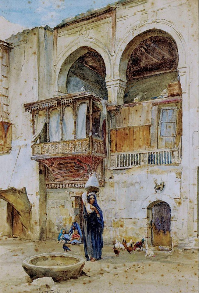 Old Farm House , Cairo  By Walter Tyndale (1855–1943) Watercolor , 34.5 X 23.5 cm