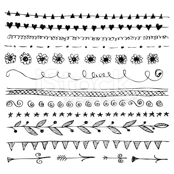 Hand drawn line border doodle set royalty-free stock vector art