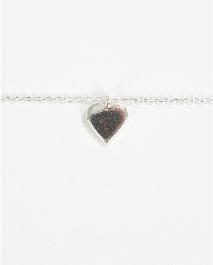 Silver Shiny Heart Necklace