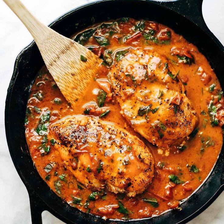 Garlic Basil Chicken with Tomato Sauce 1 lb. boneless skinless chicken breasts salt and pepper ¼ cup olive oil 5-6 roma tomatoes, diced 3 cloves garlic, minced one handful fresh basil, loosely packed, cut into ribbons ¼ cup butter or sub 8 ounces pasta, like spaghetti, linguine, or bucatini Cover…