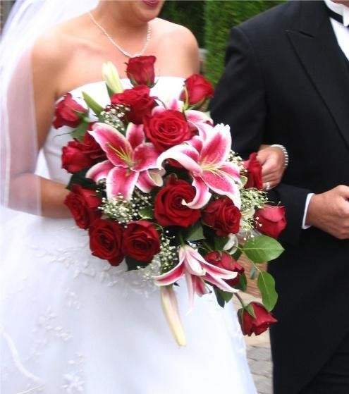 White Stargazer Lily Wedding Bouquet | Pink Red White Bouquet Wedding Flowers Photos & Pictures - WeddingWire ...