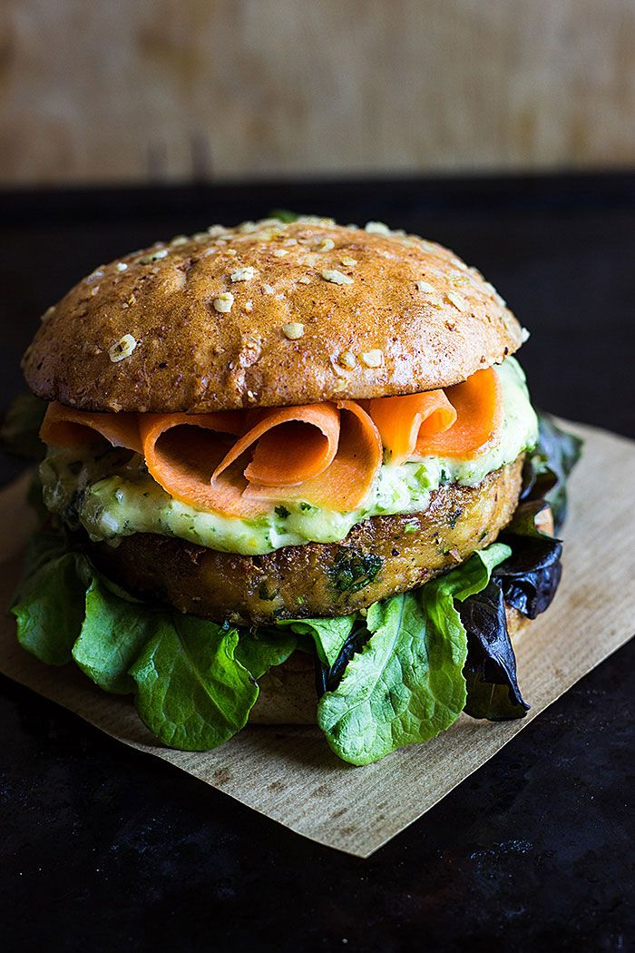 A spicy chickpea burger with coriander mayo and pickled carrot.