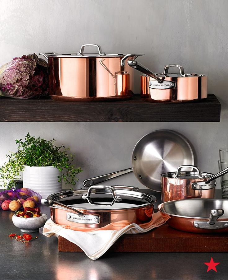 The pure copper exterior of the Martha Stewart Collection Tri-Ply Copper Cookware Set will instantly elevate your kitchen and add superior control over heat. Shop now or add to your registry!