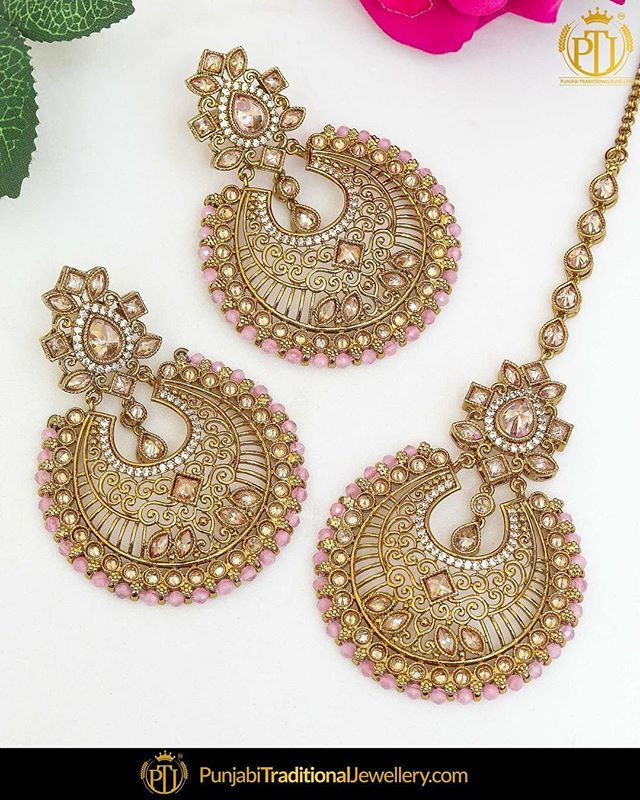 bdb7e78c7 featured:- Pink Champagne Stone Earrings & Tika Set Shop our latest  collection at