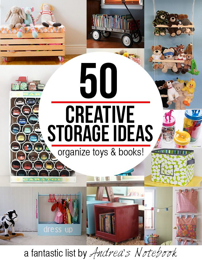 50 creative storage ideas for toys & books! Great inspiration & tutorials!: 50 Creative, Creative Toys, Andrea Notebooks, Creative Storage, Toy Storage, Storage Ideas, Toys Books, Kid, Toys Storage