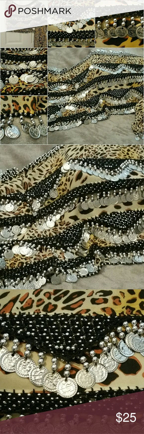 Belly dance hip scarf-Handmade At 6ft L & 1ft W this gorgeous animal print hip scarf is amazing; over 150 silver coins & beads adorn this piece purchased from an old Greek woman at a family owned restaurant while in FL on business; she creates each one herself as her grandmother & mother taught her, I was fascinated by her talent & her story; truly a unique work of art & FUN too! Accessories Scarves & Wraps