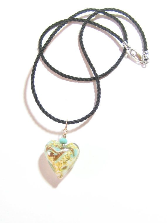 Italian Glass Turquoise Gold Heart Pendant Necklace by JKCJewels