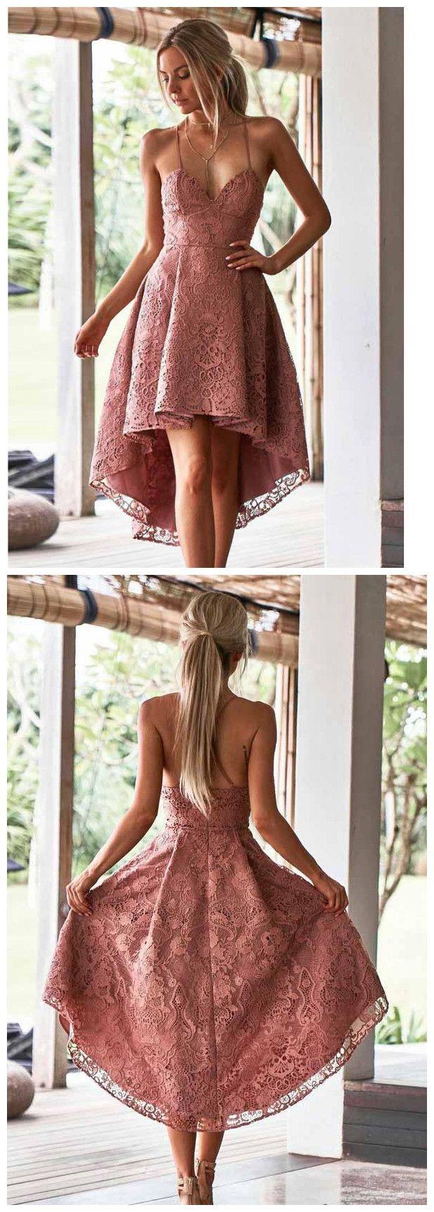 A-Line Spaghetti Straps High Low Blush Lace Short Prom Dress Homecoming Dress AMY1573 1