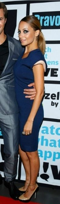Who made Nicole Richie's two tone pumps and blue dress that she wore on September 11, 2012? Dress – Lanvin  Shoes – Jimmy Choo