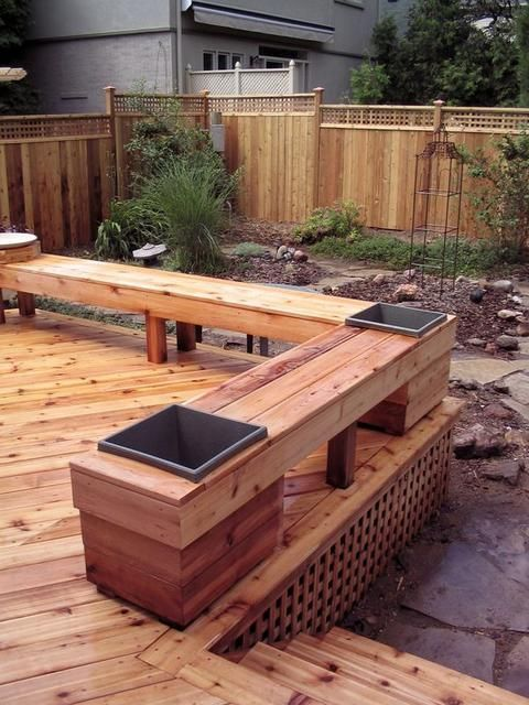 Cedar deck, fence and bench with built-in planters--for when the railing needs to be replaced on our deck.