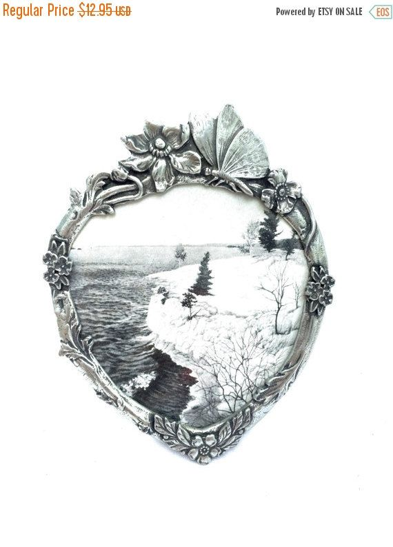 SEPTEMBER SALE Fine Pewter Frame Canada  heart butterfly  Picture Frame