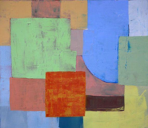 Astratto geometrico, minimalista dipinto ad olio di paesaggi, paesaggio moderno, dipinto su tela, contemporanea, spatola, piazza pittura by ruggerotommasiniart #italiasmartteam #etsy