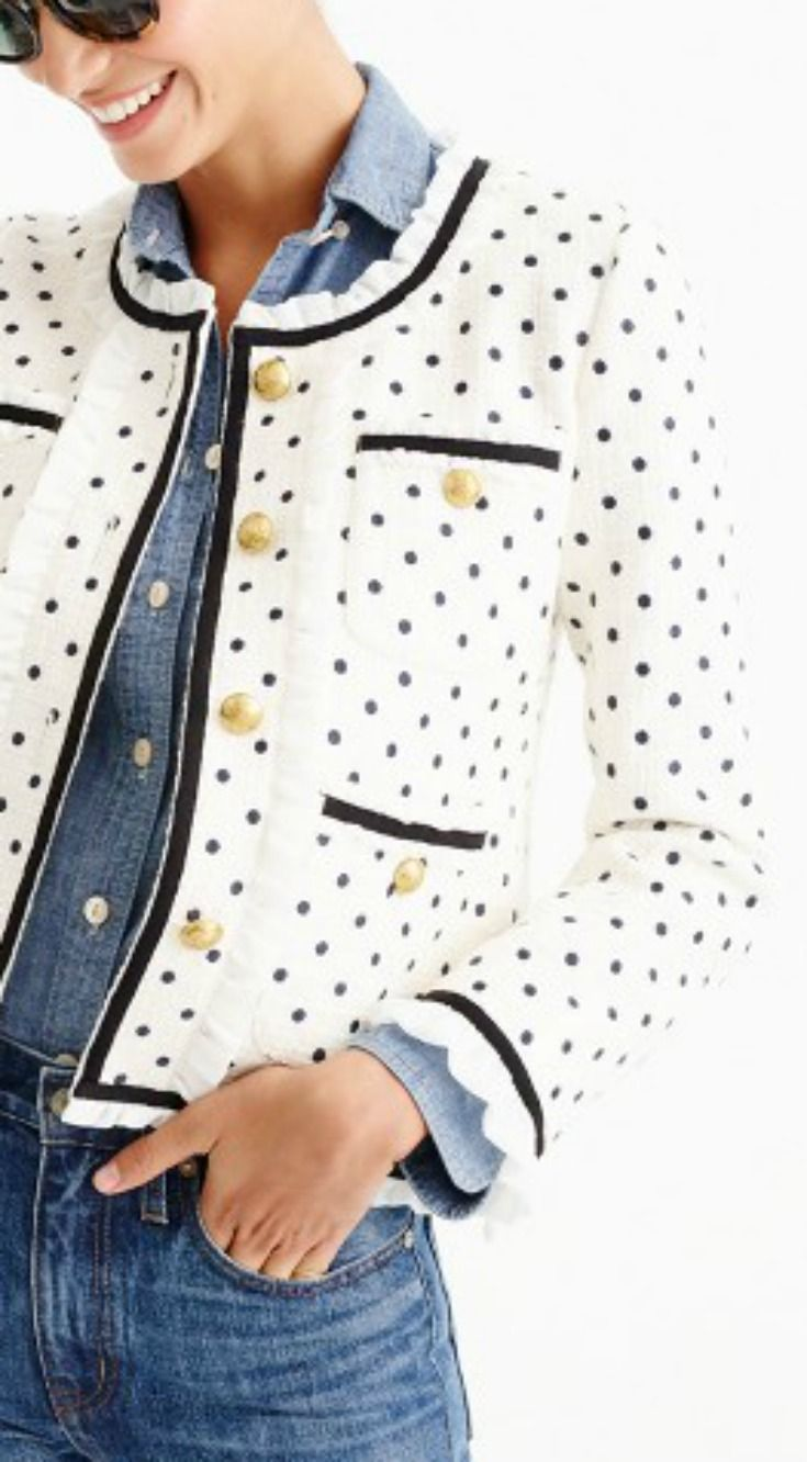 Polka Dot Jacket  \\  jcrew, jacket, cute jacket, polka dot, shop, chambray, outfit idea, easy outfit idea, cute outfit, shop, style, fashion, inspo