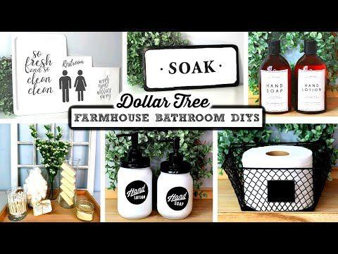 DOLLAR TREE DIY FARMHOUSE BATHROOM DECOR – YouTube