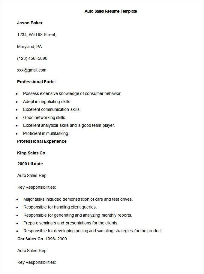 25+ unique Sales resume ideas on Pinterest Sales resume examples - auto sales resume