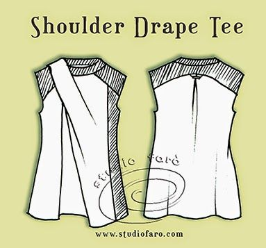well-suited: Pattern Puzzle - Shoulder Drape Tee