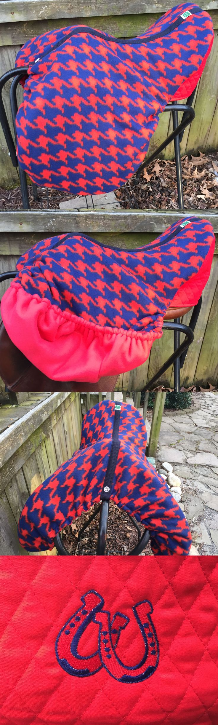 Saddle Covers 179000: Double Fleece Custom Made English Dressage Saddle Cover Red Navy Horseshoes BUY IT NOW ONLY: $48.0