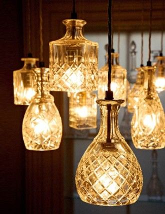 diy- glassware turned into lights.  :): Lamps, Ideas, Lights Fixtures, Crystals Decanter, Glass, Decanter Lights, Pendants Lights, Crystal Decanter, Decanterlights