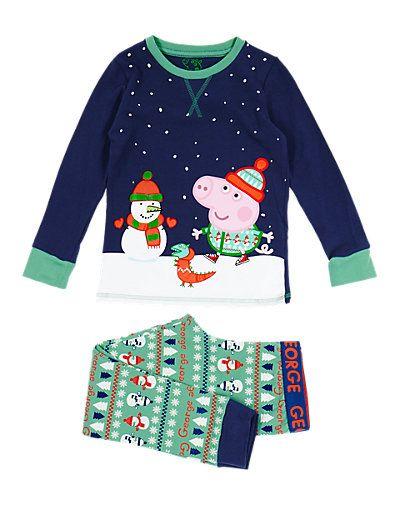 14 frankendeutscheneuromarcs Cotton Rich George Peppa Pig™ & Snowman Stay Soft Pyjamas (1-8 Years) | M&S