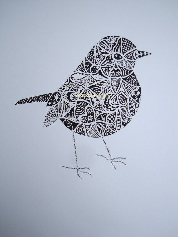 Hand drawn Robin Art Screenprint