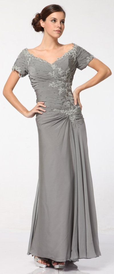 Popular silver anniversary dresses Plus Size Silver Mother of Bride Dress Short Sleeve Bead Embroidered