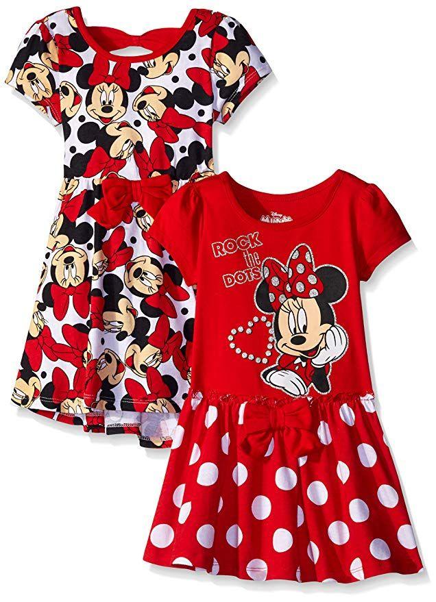660bbaf57 Disney Little Girls' Toddler 2 Pack Minnie Rocks The Dots Dresses, Red, 2T