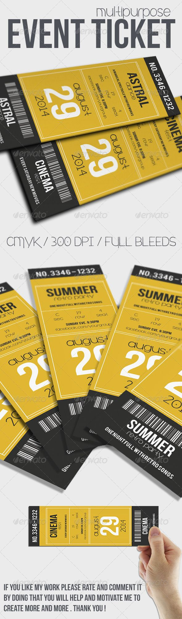 Multipurpose Event Ticket Templates PSD | Buy and Download: http://graphicriver.net/item/multipurpose-event-ticket/7843423?WT.ac=category_thumb&WT.z_author=Tzochko&ref=ksioks
