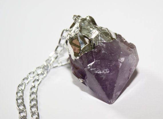 Amethyst Necklace Chunky Amethyst Necklace Amethyst Silver Necklace February Birthstone Necklace Amethyst Rock Necklace