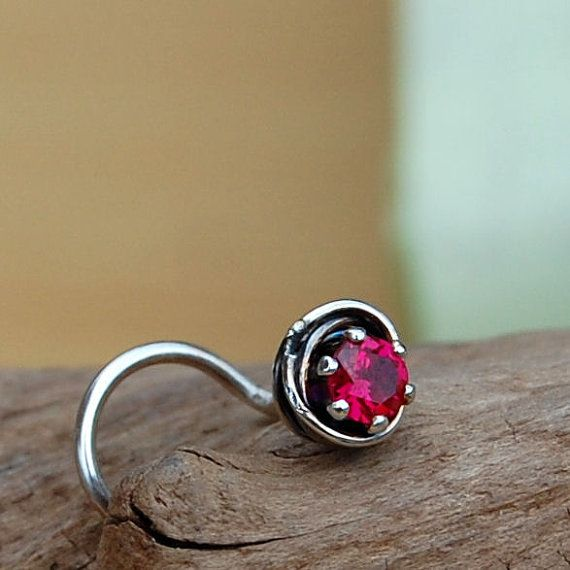 Nose Stud / Ruby Nose Screw / All Tangled Up with Rubies Sterling Silver - L or Screw End