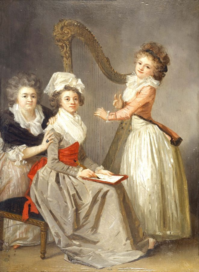 "Portrait of Marie Ledoux and her daughters (c.1787). Marguerite Gérard (French, 1761-1837). Oil on wood. Gérard likely knew architect Ledoux and his family. The portrait was probably given as a gift to them. The success of this portrait may have convinced some ""patrons"" to commission similar ones from her. Claude-Nicolas Ledoux was a French architect who developed an eclectic and visionary architecture linked with nascent pre-Revolutionary social ideals."