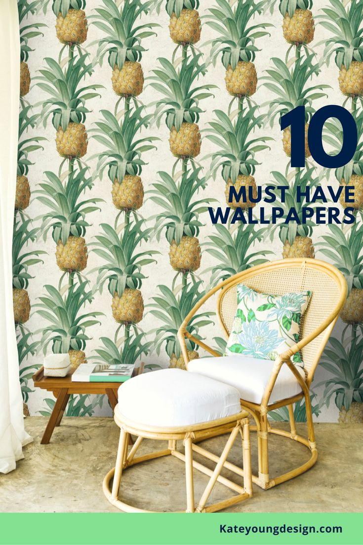 Top 10 wallpapers ...embrace the tropical trend and add some boho vibes to your place.This flamboyant Pineapple Wallpaper by designer MINDTHEGAP will add a new fresh feeling to your walls. A tropical pattern that will turn any room into an exotic island
