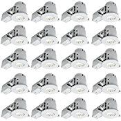 4″ Swivel Spotlight Recessed Lighting Kit Dimmable Downlight, Contractor's, White Finish, Easy Install Push-N-Click Clips, Globe Electric 90948 (Pack of 20)