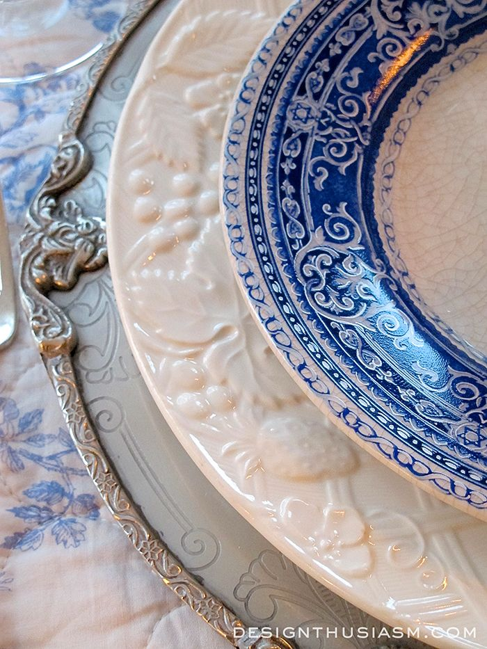 French Blue and White Holiday Table Setting - Use Blue Transferware instead