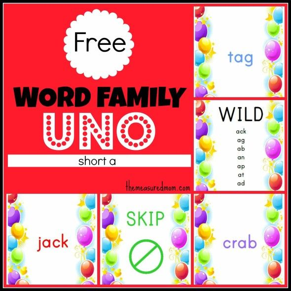 Free Word Family Game: Uno (short a) from The Measured Mom. Engaging kids when they're learning to read can be hard. This free game is sure to help!