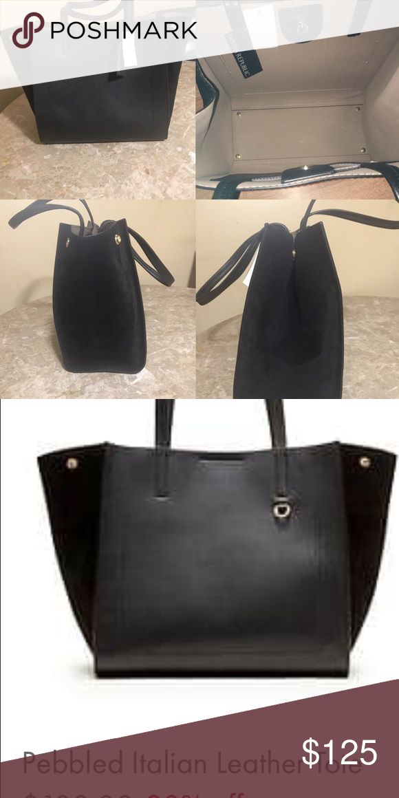 Banana Republic Italian Leather pebbled tote BNWT black Banana Republic Italian leather tote with suede sides. It has side buttons to make larger or smaller, as well as a magnetic button to close. Currently sold out on Banana Republic website Banana Republic Bags Totes