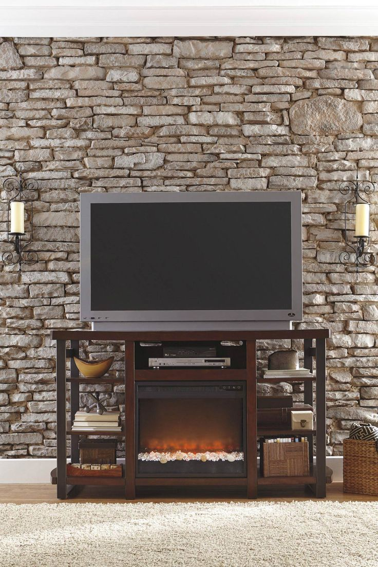 Montgomery 26in electric fireplace and tv stand cherry 26mm2490 c233 - Large Tv Stand W Fireplace Option Ashley Home Gallery Stores
