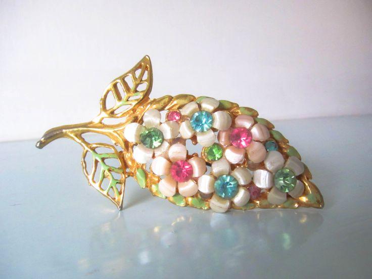 Vintage brooch, Vintage pin, Gift for her, Ladies flower brooch, leaf design brooch, 1950s brooch, Rhinestone brooch, green paste brooch by thevintagemagpie01 on Etsy