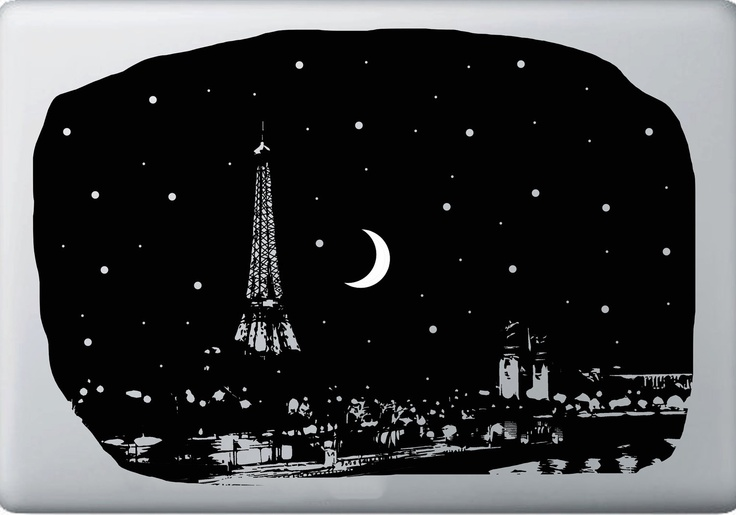 Eiffel tower macbook decal so the moon glows when in use instead of an apple