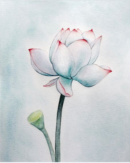 #watercolour #lotus #vintage style #wall decor #decor #flower #qianrong #print #painting