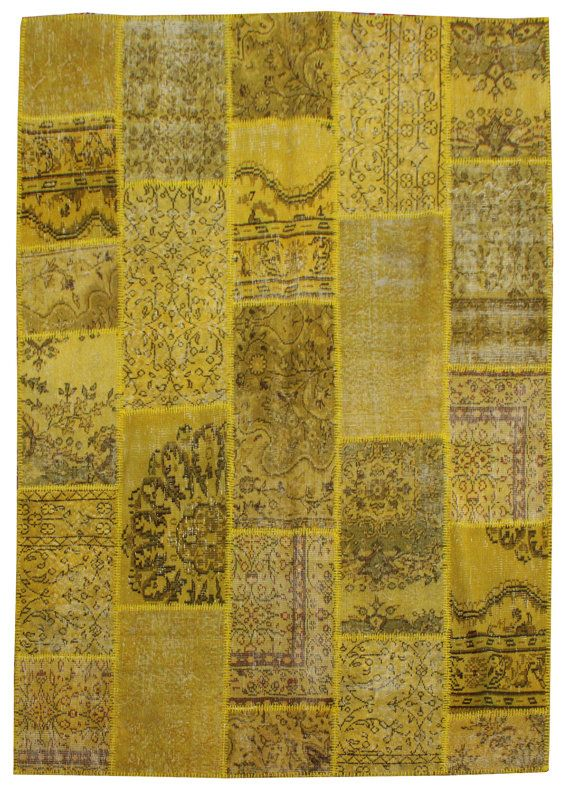 240 x 170 CM Vintage turco Patchwork tappeto giallo di RugPassion