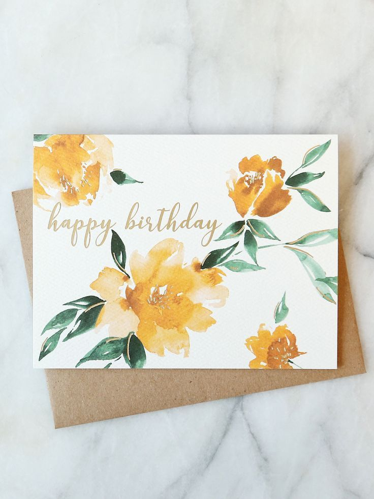 Yellow Floral Birthday Card Birthday Card Drawing Watercolor