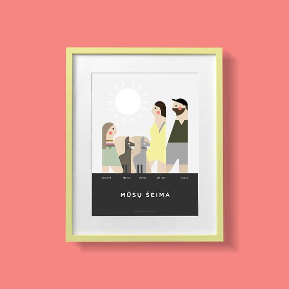 Custom family portrait personalized illustration. Custom