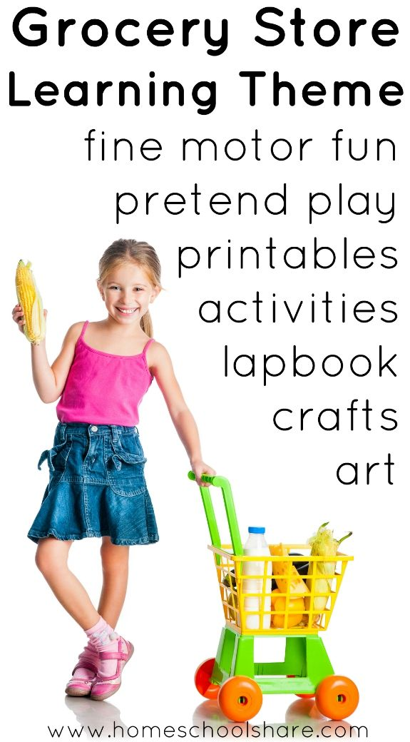 Grocery Store Learning Theme for preschool and kindergarten. Includes ideas for fine motor skills, pretend play, free printables, math and language activities, crafts, art projects, and more from The Homeschool Share blog