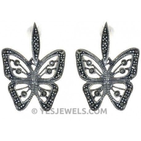 Kelebek figürlü markazit taşlı gümüş küpe -YES726 Yes Jewels Silver Store`da!