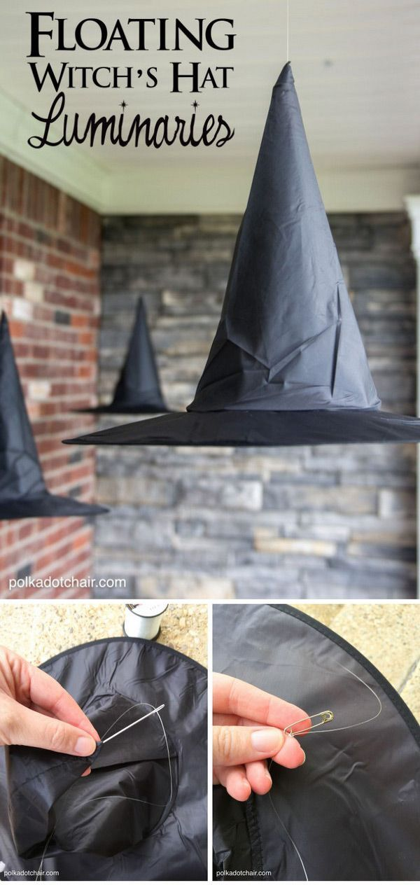 DIY Floating Witch Hat Luminaries; Halloween Witch Decorations - witch decorations