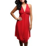 Flowing Red Sexy Halter Top Styled Casual Dress
