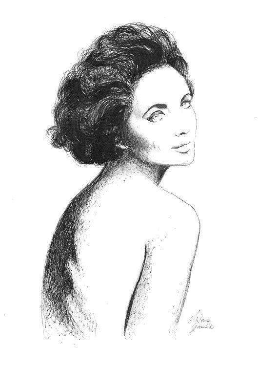 PORTRAIT OF FEMININITY  - original drawing in ink pen on paper  by Milena Gawlik, Black & White