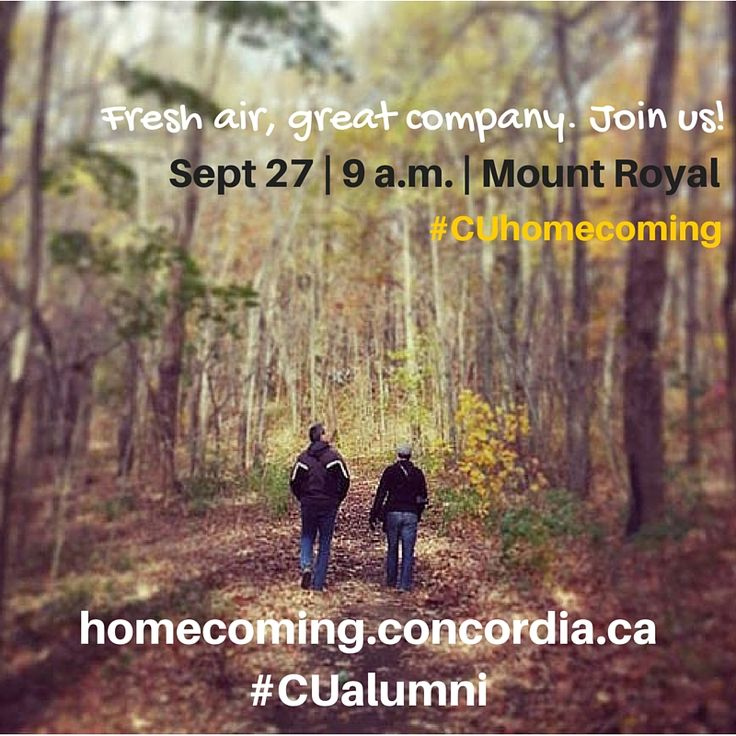 Join us for some fresh air and great company on Sept 27. #CUhomecoming #CUalumni #Montreal #peaceful #relaxing #walking #tour