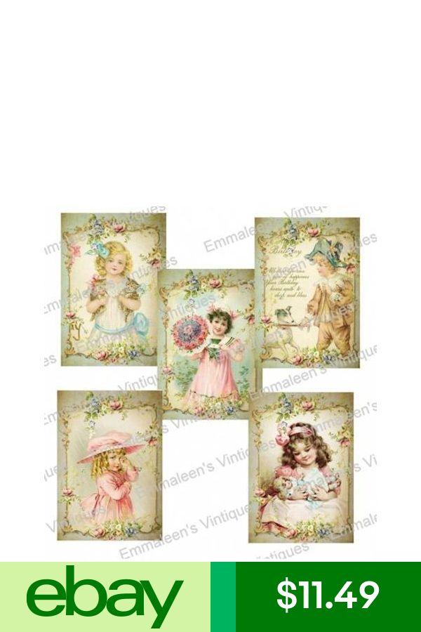 Vintage Image Shabby Victorian Framed Children Waterslide Decals KID607